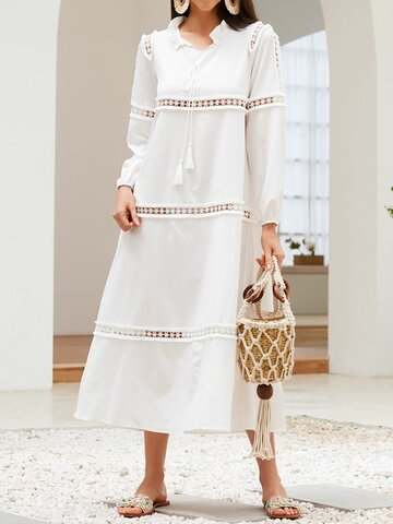 Solid V-neck Knotted Hollow Dress