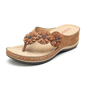 Flower Holiday Wedges Slippers