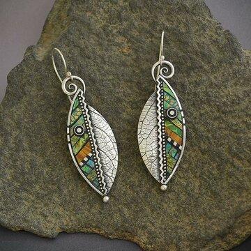 Serrated Leaf Earrings