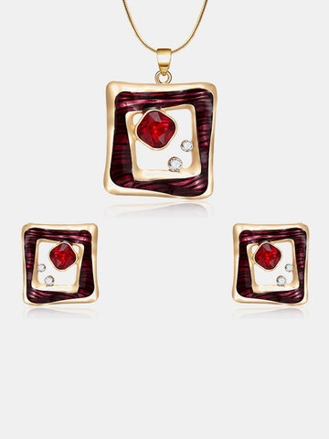 Fashion Red Crystal Jewelry Set