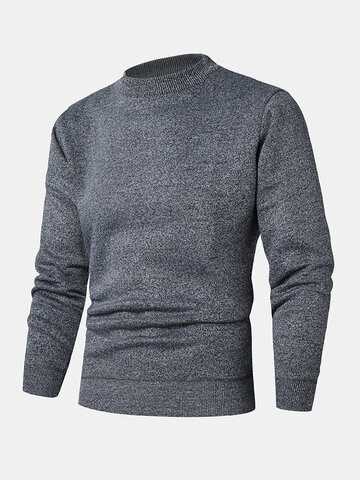 Knit Crew Neck Solid Basic Sweaters