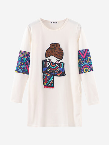 Patchwork Cartoon Long Sleeve O-neck Sweatshirt, White black