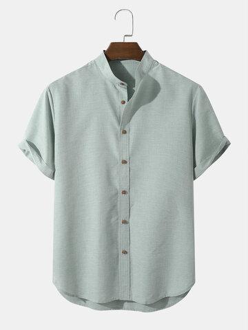 Solid Grandad Collar Shirts