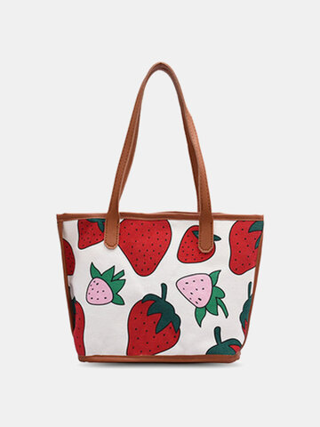 Canvas Strawberry Pattern Printed Tote