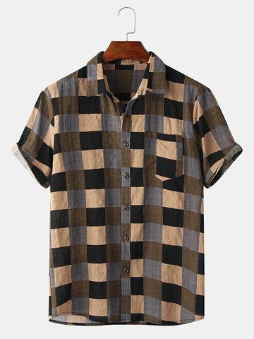 Plaid Print Vintage Lapel Shirt