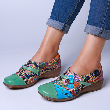 Floral Leather Zipper Shoes