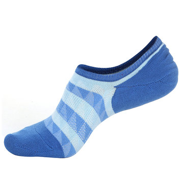 Men Autumn Warm Cotton Boat Socks Stripes Mesh Breathable Ankle Invisible Socks, Pink yellow blue coffee