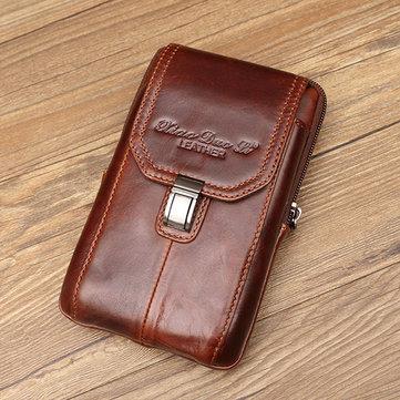 Genuine Leather 5.2/5.7/6 Inches Phone Bag Waist Bag