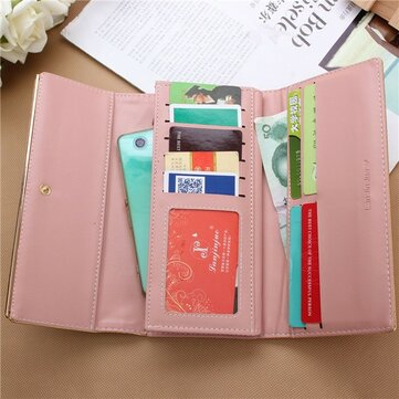 New Simple Women Leather Credit Card Long Wallet
