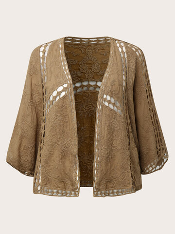 Vintage Embroidered Hollow-out Coat