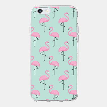 Transparent Mobile Phone Case With Colored Flamingo Pattern