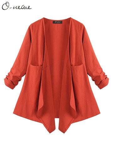 O-NEWE Elegante Weite Langärmelige Unregelmässige Jacke Für Frauen