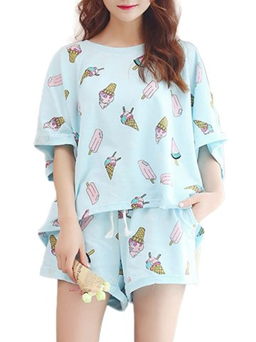 Cute Cartoon Pattern O Neck Casual Home Suit, Blue