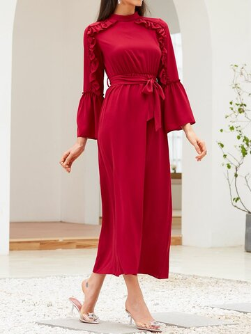 Solid Color Ruffle Knotted Dress