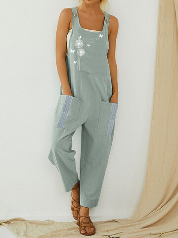 Print Plaid Patchwork Jumpsuit