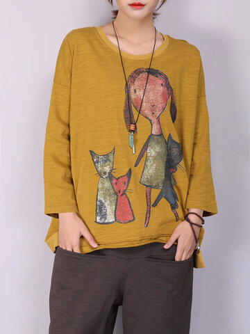 Cartoon Cat Long Sleeve T-shirt