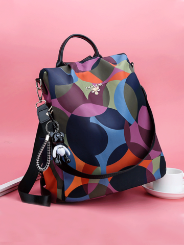 Women Waterproof Printed Nylon Anti-theft Backpack