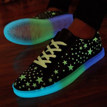 Unisex Fluorescent Star Light Lace Up Flat Sneakers