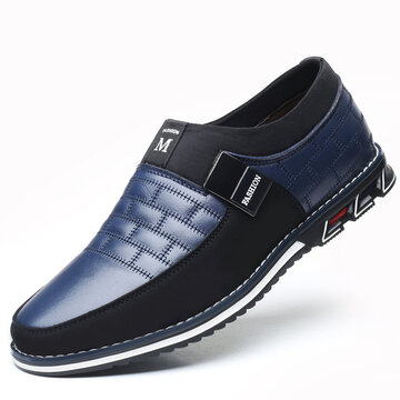 Men Genuine Leather Splicing Casual Shoes