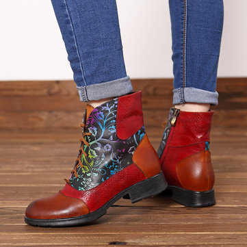 Plant Pattern Lace Up Zipper Boots