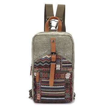 Brenice National Flowers Canvas Backpack Vintage Daypack
