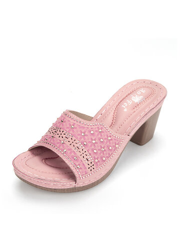 Breathable Hollow Rivet Heels Slippers