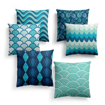 Blue Geometric Strips Pillowcase