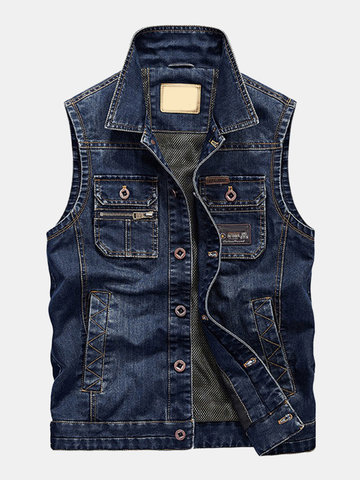Mens Denim Vintage Multi Pockets Sleeveless Casual Vest