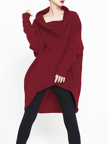 O-NEWE Loose Solid Turtleneck Irregular Sweatshirt