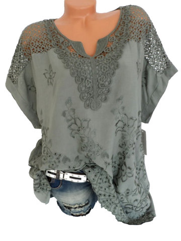 Lace Crochet Hollow V-neck Blouses