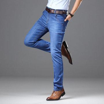 Mens denim summer stretch business straight jeans slim thin