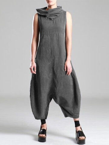 Pile Collar Casual Jumpsuit