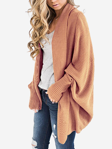 Dolman Sleeve Solid Color Cardigan