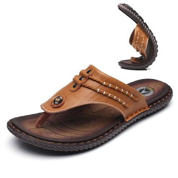 Men Hand Stitching Soft Leather Sandals