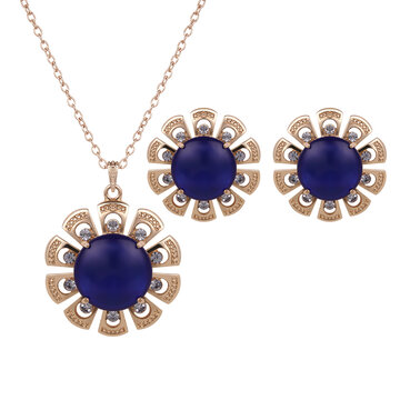 Elegant Jewelry Set Flower Opal Rhinestone Necklace Earrings Set
