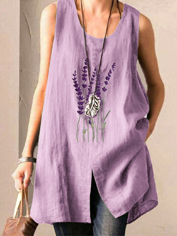 Lavender Embroidery Tank Tops