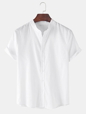 Breathable Flax Stand Collar Shirt