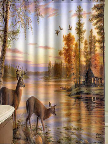59''x70'' Moldproof Waterproof Polyester Deer Shower Curtain Bathroom Decor