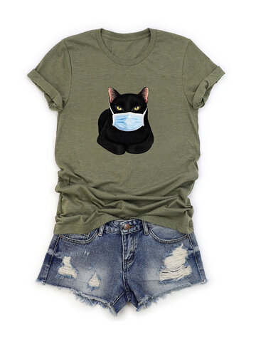 T-shirt com estampa de gato cartoon