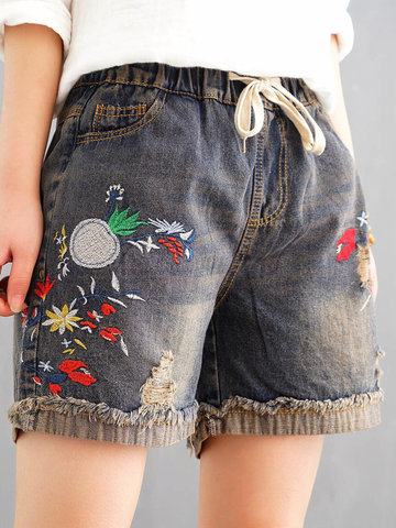 Casual Embroidery Shorts