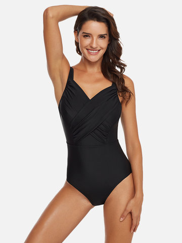 Ruffled Slimming Mesh One Piece