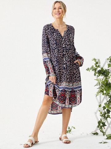 Floral Print Bohemian Slit Dress
