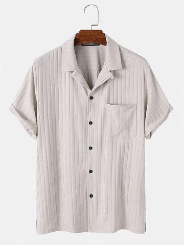 テクスチャードストライプラペルベーシックシャツ