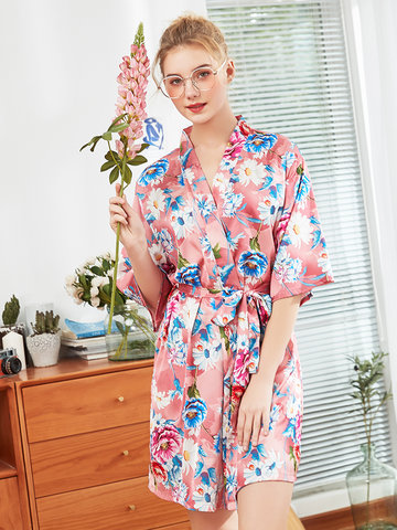 Plus Size Silk Floral Belt Robe