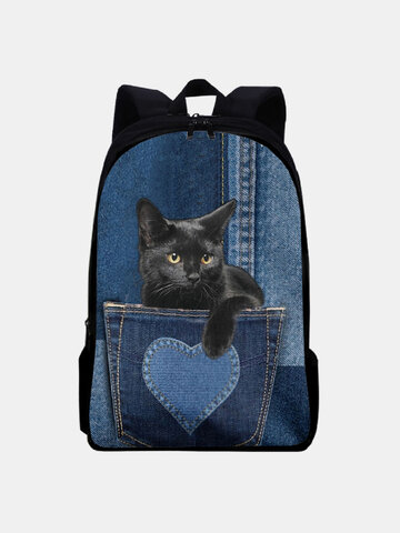 Oxford Patchwork Large Capacity Cat Pattern Printing Backpack