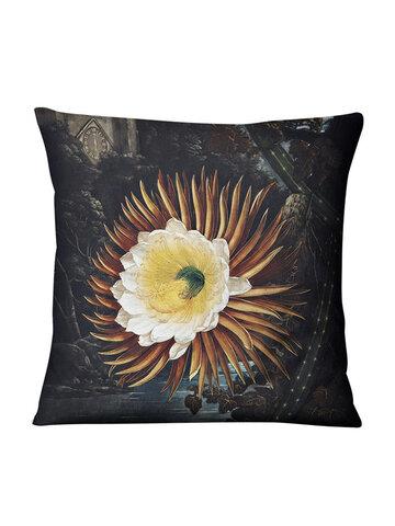 Nordic Retro Flower Tulip Linen Pillow Case Home Fabric Sofa Cushion Cover