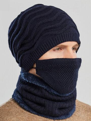Uomo 2PCS ricamato Plus Berretto invernale in velluto spesso con sciarpa lavorata a maglia