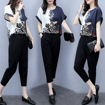 New Women's Season Large Size Two-piece Pants Chiffon Short-sleeved Shirt Cropped Trousers Casual Fashion Suit Women