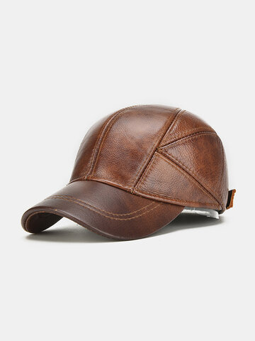 Mens Outdoor Genuine Leather Baseball Caps With Ear Flaps