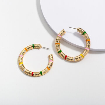 Retro Simple Circle Pendientes